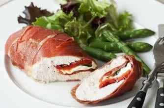 Chicken breasts wrapped in Parma ham